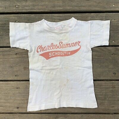 Vintage 1950s Champion Running Man Tag Short Sleeve School T Shirt Tee KIDS