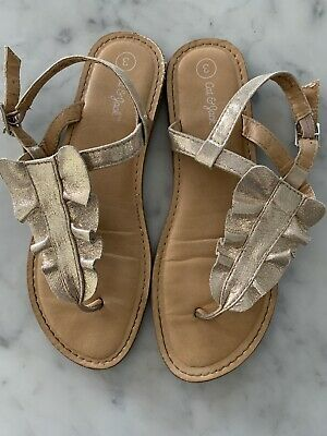*GIRLS YOUTH SIZE 3 JACKIE SILVER ZIP BACK THONG SANDALS CAT /& JACK