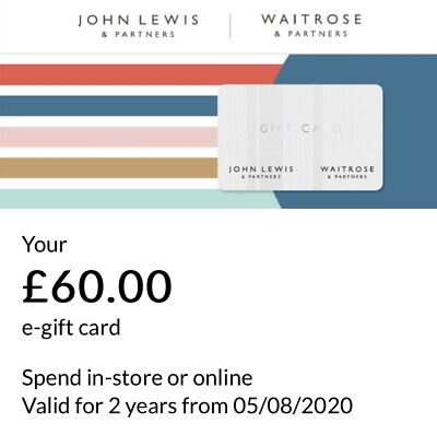 £60 John Lewis And Waitrose Online E Voucher Gift Card, Instant Delivery