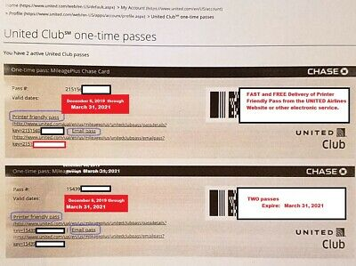 (2) UNITED Airlines CLUB LOUNGE Passes. Two CHASE ONE-TIME PASS Expires March 31