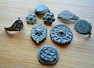 Lot of 9 ROMAN,Byzantine medieval ANCIENT BRONZE RINGS