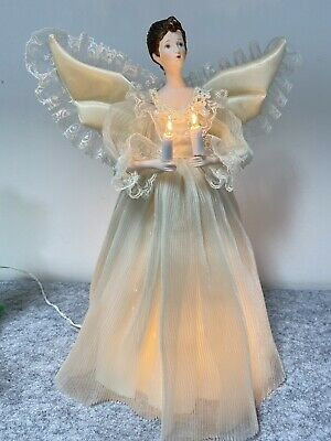 "Vintage Lighted Angel Christmas Tree Top Holiday 14"" 8 Light Porcelain Face"