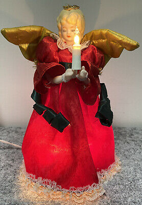 "Vintage Lighted Angel Christmas Tree Top Holiday 8.5"" 9 Light Porcelain Face"