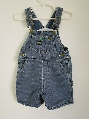 VTG Oshkosh Overall Shorts Blue Railroad Stripe Size 12M Rare Green Tag