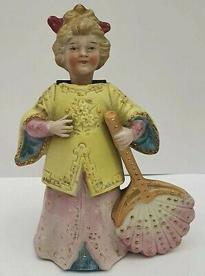 Antique Victorian Nodder Figure Bisque Nodding Lady With Fan 35 00 Picclick Uk