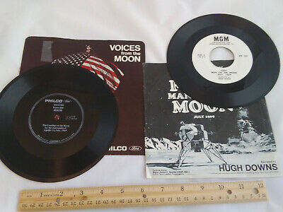 2 Vintage Apollo 45s - Voices from the Moon & First Man on the Moon