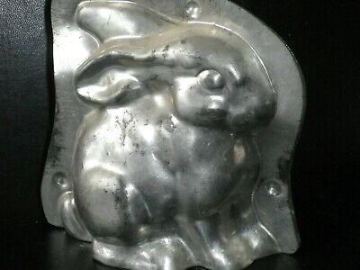 Vintage metal chocolate mold , sitting rabbit, smooth finish, Laurosch.