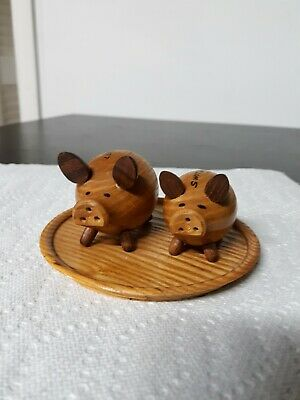 Souvenirs Collecitble Pigs Vintage Wooden Pigs Salt And Pepper Shakers Vintage Retro Salt and Pepper Shakers