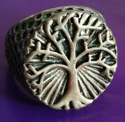 Ancient Medieval Silvered Ring Rare Amazing Tree Of Life