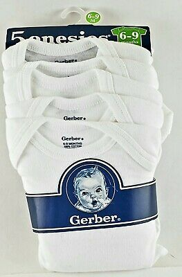 5 Pk Gerber One Piece Under Shirt Infant Baby 6-9 Months. Solid White. New