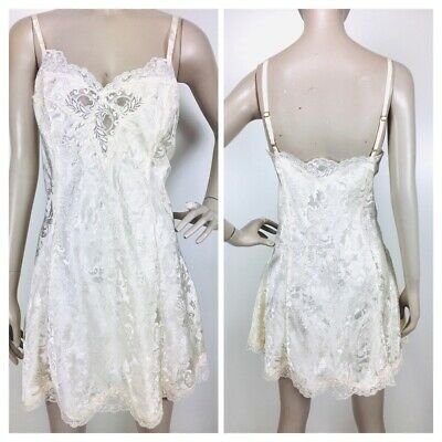 Vintage Victoria's Secret Gold Label Ivory Brocade Lace Trim Negligee Nightgown