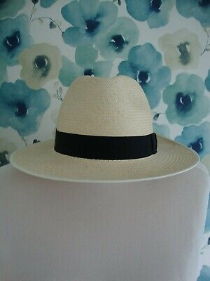 Genuine Panama Hat Black Band Made In England Woven In Ecuador Uk 7 1/2 61Cm