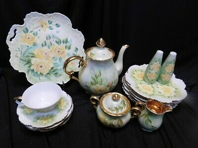 Gorgeous Hand Painted Porcelain Tea Set Yellow Roses w/Gold 17 pcs signed Gisela