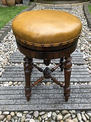 Beautiful Antique Victorian Rosewood & Leather Top Adjustable Piano Stool .