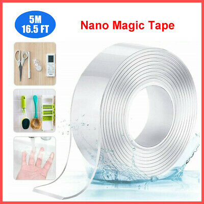 16.5ft Nano Grip Tape Reusable Removable Washable Double Sided Sticky Strips 1mm