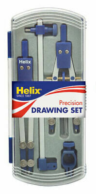 Helix Metal 130mm Technical Compass And Replacement Leads With Case Box T80010