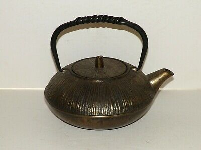 Vintage Japanese Cast Iron TETSUBIN Teapot with Infuser Water Kettle Tea Signed