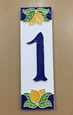 House numbers in Ceramic.2x6 In.Two End Tiles.Made//painted By Hand in ItalY