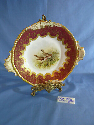 Coalport Hand Painted Twin Handle Dessert Dish Painted With Birds Red & Gilded