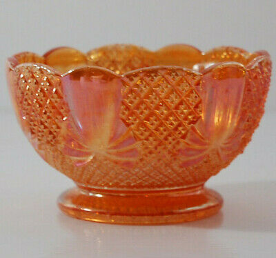 Vintage Retro Sowerby Carnival Glass Marigold 'Pineapple' Patterned Small Bowl