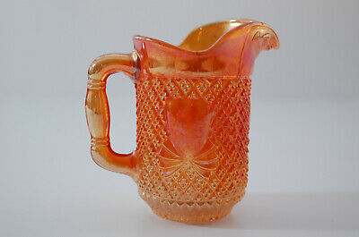 Vintage Retro Sowerby Carnival Glass Marigold 'Pineapple' Patterned Small Jug