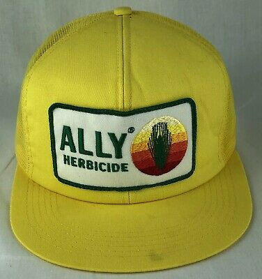Vintage Ally Herbicide Patch SnapBack Trucker Mesh Hat Cap K Products USA Yellow