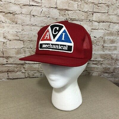 Vintage Trucker Mesh Hat Snapback Large Patch ACI Mechanical Unitog USA