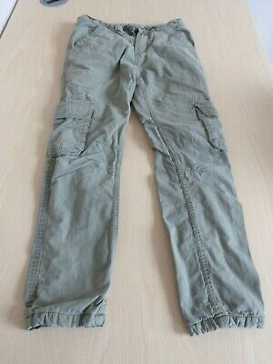 Boy's green John Lewis padded cargo pants trousers  -  size 11 years