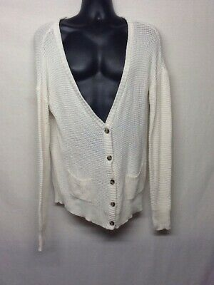 Arizona Jeans Company Men's V-Neck Button Down Cardigan Sweater Ivory Size XL