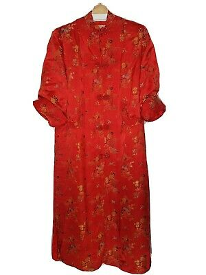 Vintage Peony Shanghai Womens Kimono Robe Coat Red Long Knot Buttons Size XL