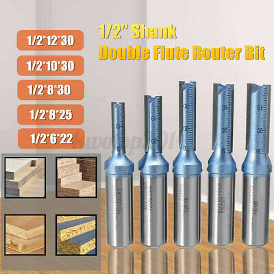 1/2'' Shank Double Flutes Straight Router Bit Carbide Woodworking Milling Cutter