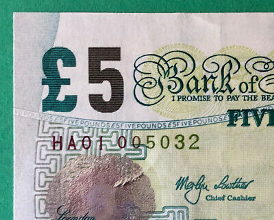 Gb B393 Lowther First Prefix Ha01 Bank Of England £5 Note - Ha01 005032 A/Unc