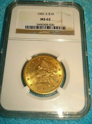 1901s - NGC MS 62 - $10 DOLLAR GOLD EAGLE - LIBERTY HEAD - FREE SHIPPING