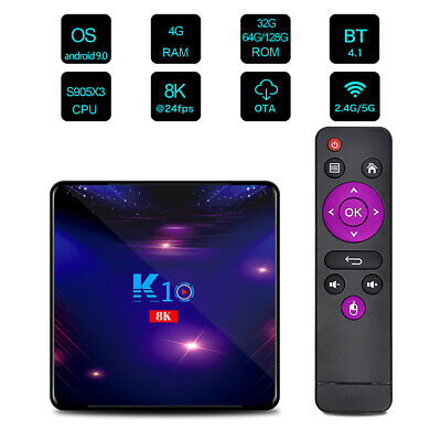 8K K10 Smart TV Box Android 9.0 S905X3 2.4G / 5G Dual-band WiFi 1000M LAN R0D3
