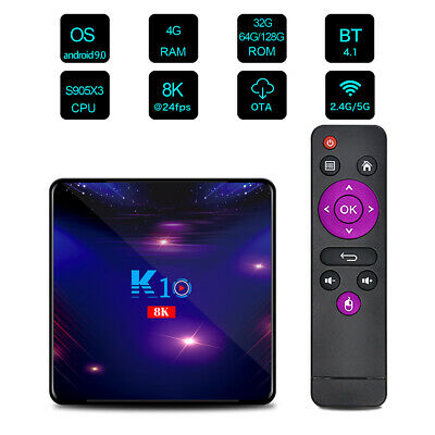 8K K10 Smart TV Box Android 9.0 S905X3 1000M LAN WiFi 4+32GB/4+64GB/4+128GB W2U8