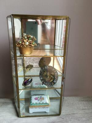 Vintage GLASS & BRASS MIRRORED CURIO  DISPLAY CABINET for  Miniatures