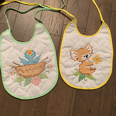 2pc Vintage Handmade Cross-Stitch Baby Bibs, Koala, Bird in Nest