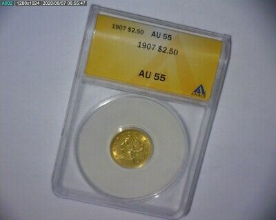 1907 LIBERTY HEAD Quarter Eagle $2.50 Gold Coin ANACS  AU 55 US GOLD COIN