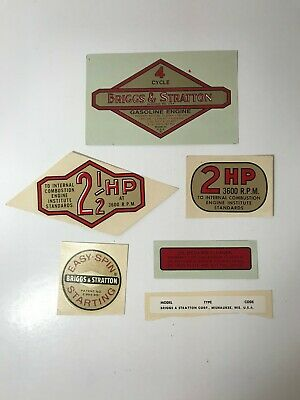 Vintage Briggs & Stratton Water Transfer Engine Decals, Lot of 6 Misc, NOS