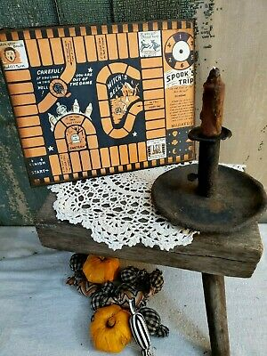 Vintage Primitive Victorian Retro Style Halloween Spooks Trip Game Board Canvas