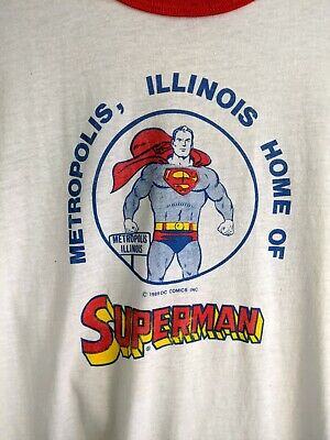 Vtg 1989 SUPERMAN Metropolis DC Comics 50/50 Tee T-Shirt Screen Stars M/L