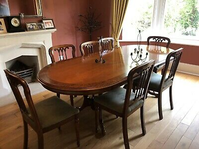 Reproduction Antique Regency Style Mahogany Extending Dining Table With 8 Chairs 150 00 Picclick Uk