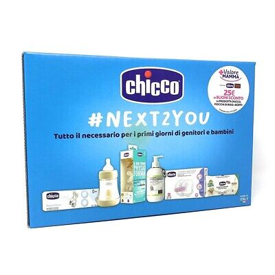 CHICCO NEXT TO 2 YOU Biberon ciuccio coppette assorbilatte salviette Fiocchi