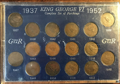 GB; 1937-1952 George VI Complete Set of Farthings In NEW Case