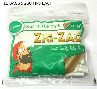 10 X ZIG ZAG MENTHOL SLIM 250 Resealable Bag Roll Your Own Cigarette Filter Tips