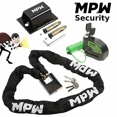 2M MPW Chain Lock /& Ground Anchor /& Disc Lock Motorbike Motorcycle Scooter