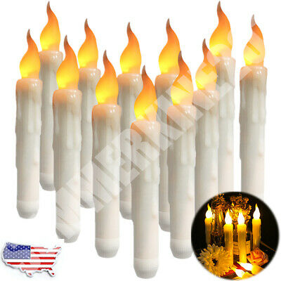 LED Flameless Taper Flickering Candles Lights Battery Operated Party Date Xmas.