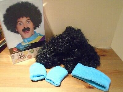 Smiffy's Scouser Wig Afro Set With 80'S Blue Headband And Arm Bands 118 118 Wig