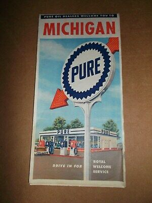 Original Vintage 1959 Pure Oil Michigan State~Foldout Paper Road Map~Travel~59a~