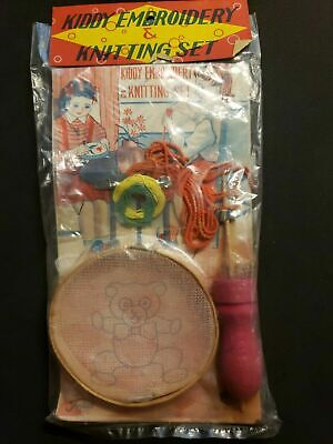 Vintage Kiddy Embroidery /& Knitting Set Dime Store Toy in Original Package Japan